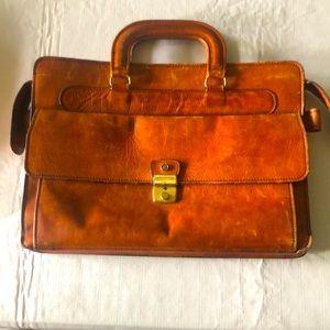 Vintage leather school bag